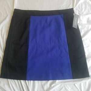 NWT Darjoni black blue color block skirt 14